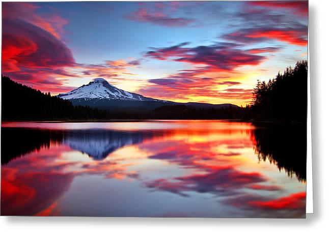 Mt Hood Greeting Cards - Sunrise on the Lake Greeting Card by Darren  White