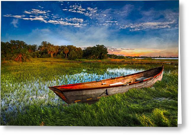 Docked Boat Greeting Cards - Sunrise on the Lake Greeting Card by Debra and Dave Vanderlaan