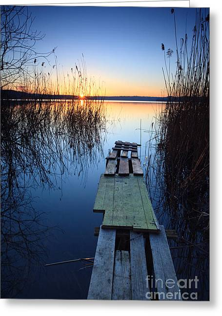 Italian Lake Greeting Cards - Sunrise on the lake II Greeting Card by Matteo Colombo
