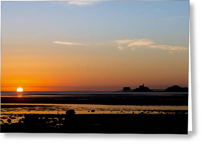 Sunrise On The Mumbles Greeting Card by Paul Cowan
