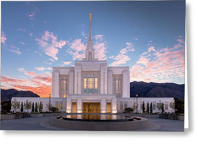 Mormon Greeting Cards - Sunrise on the Ogden Utah LDS Temple Greeting Card by Scott Law