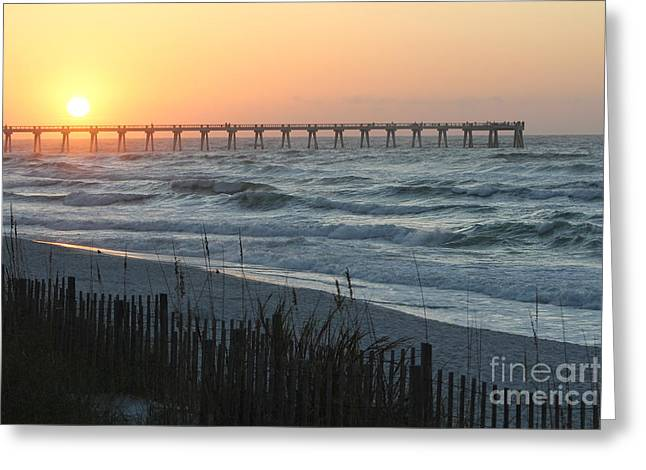 Sunrise On The Pier Greeting Card by Michelle Powell