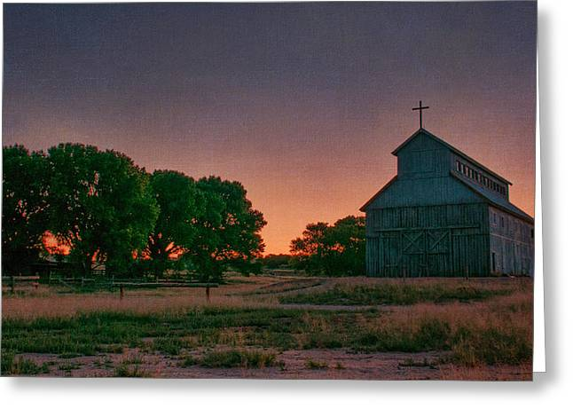 Southwest Church Greeting Cards - Sunrise on the ranch Greeting Card by Carolyn Dalessandro