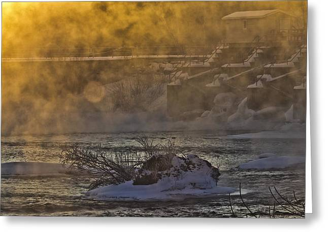 United States Of America Hazy Day Greeting Cards - Sunrise on the River Greeting Card by Hope Ozolins