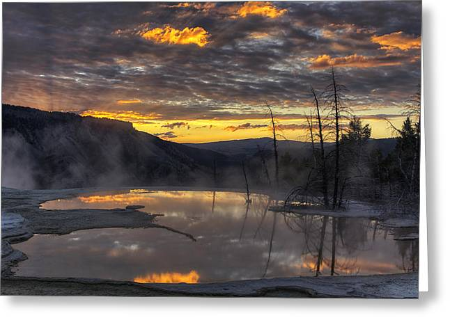 Geothermal Greeting Cards - Sunrise on the Terrace Greeting Card by Mark Kiver