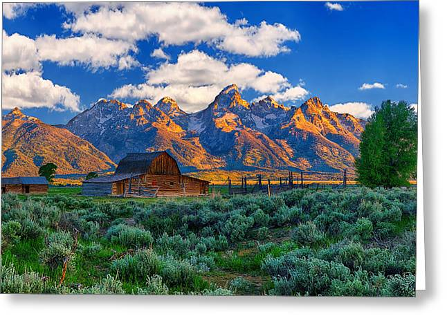 Sunrise On The Tetons Limited Edition Greeting Card by Greg Norrell
