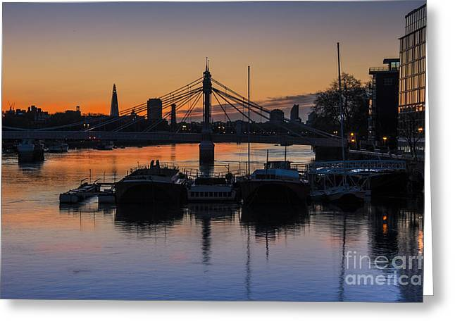 Chelsea Digital Art Greeting Cards - Sunrise on the Thames Greeting Card by Donald Davis