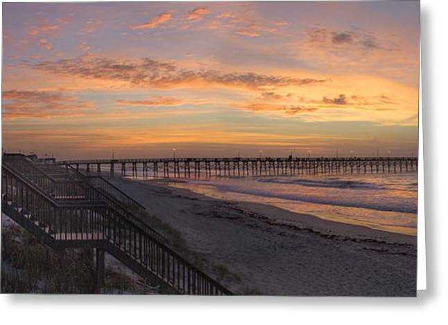 Pier Digital Greeting Cards - Sunrise on Topsail Island Panoramic Greeting Card by Mike McGlothlen