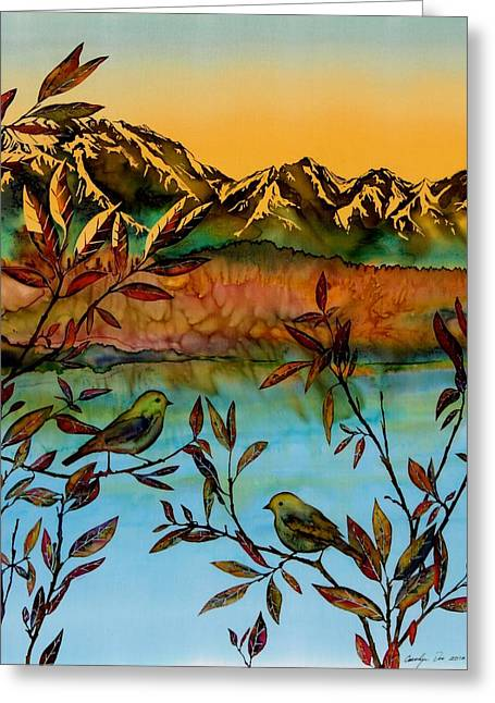 Lake Tapestries - Textiles Greeting Cards - Sunrise on Willows Greeting Card by Carolyn Doe