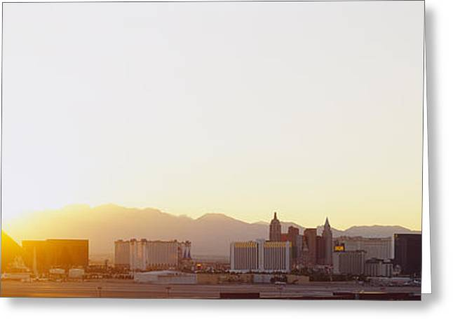 Nevada Photography Greeting Cards - Sunrise Over A City, Las Vegas, Nevada Greeting Card by Panoramic Images