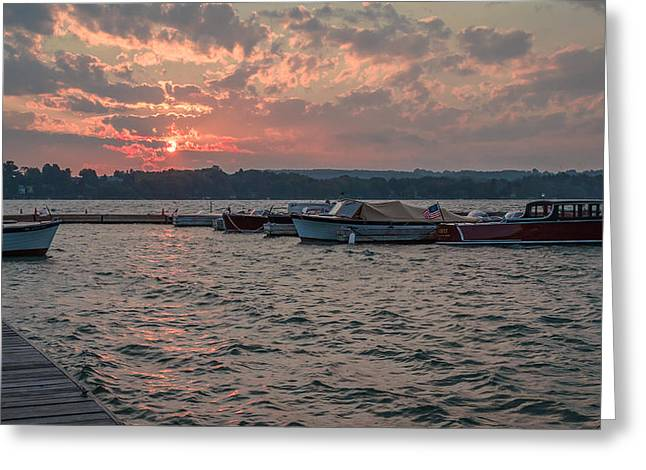 Skaneateles Greeting Cards - Sunrise over antique boats Greeting Card by Robert Green