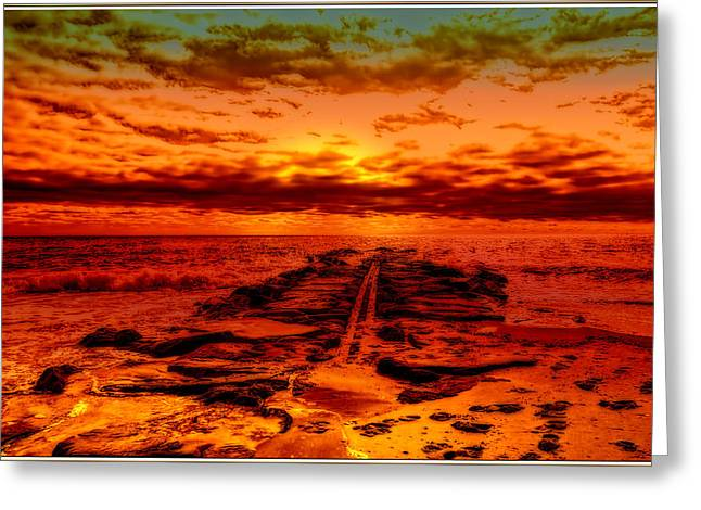 Sand Art Greeting Cards - Sunrise over Asbury Park Beach Greeting Card by Geraldine Scull