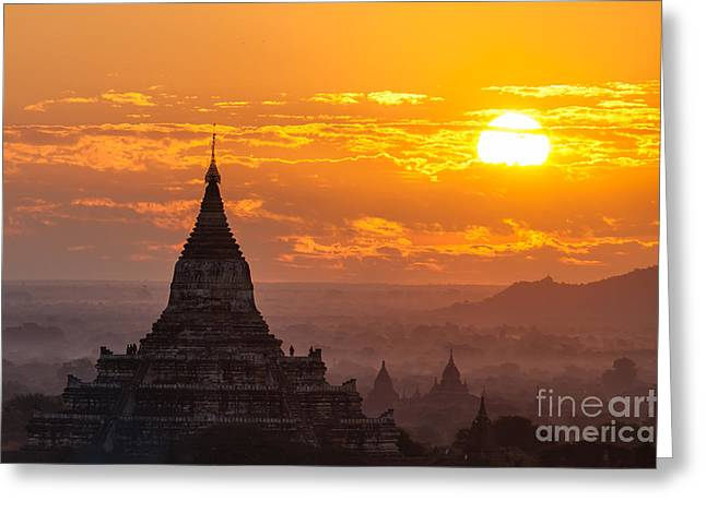 Immanuel Greeting Cards - Sunrise over Bagan Greeting Card by Immanuel Vinikas