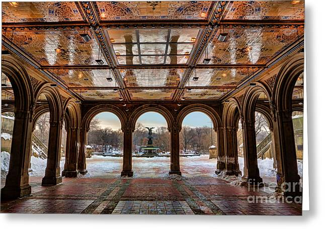 Sunrise Over Bethesda Terrace Lower Passage Greeting Card by Lee Dos Santos