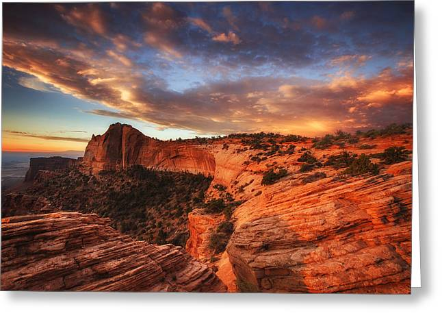 Fine Art Sunrise Greeting Cards - Sunrise Over Canyonlands Greeting Card by Darren  White