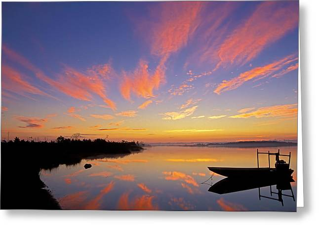 Jarrett Greeting Cards - Sunrise over Core Sound Greeting Card by Kevin Adams