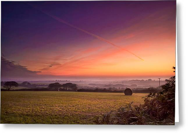 Haybale Greeting Cards - Sunrise over Cornwall Greeting Card by Christine Smart