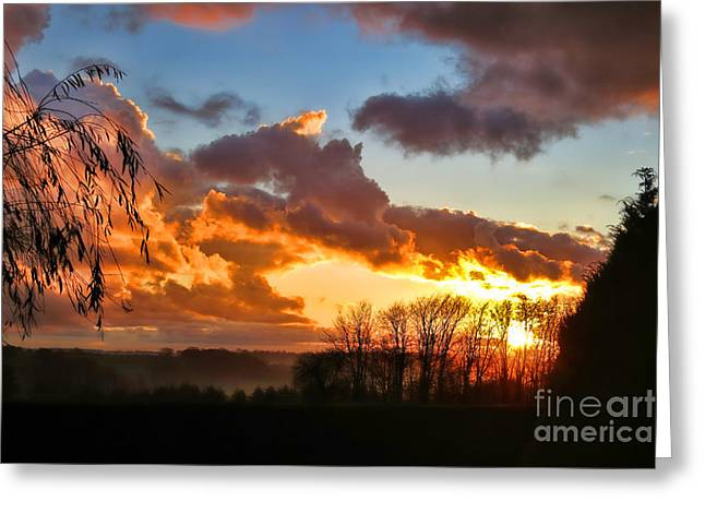 Early Morning Sun Greeting Cards - Sunrise over Countryside Greeting Card by Olivier Le Queinec