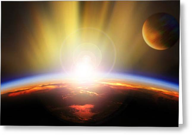 Planet Earth Greeting Cards - Sunrise Over Earth Greeting Card by Panoramic Images