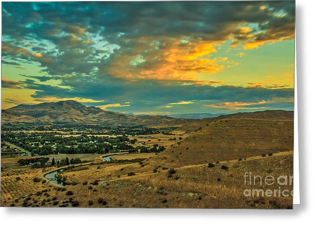 Haybale Greeting Cards - Sunrise Over Emmett Valley Greeting Card by Robert Bales
