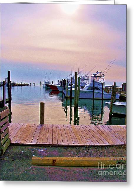 Reflecting Water Greeting Cards - Sunrise Over Fishing Fleet Greeting Card by Chuck  Hicks
