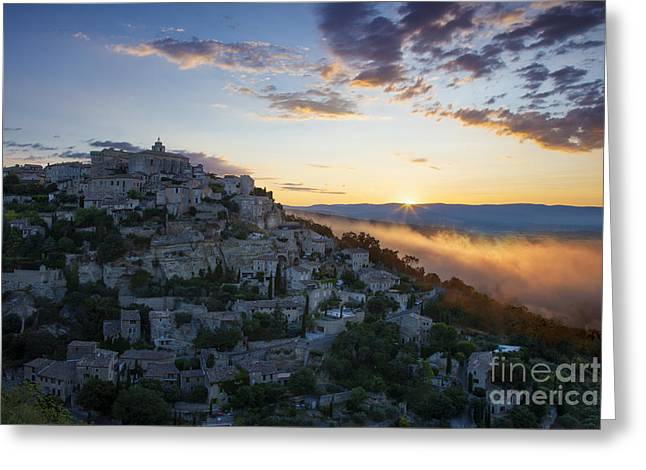 Provence Village Greeting Cards - Sunrise over Gordes Greeting Card by Brian Jannsen