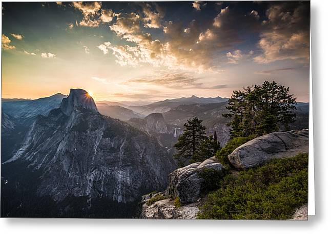 Mike Lee Greeting Cards - Sunrise over Half Dome at Glacier Point Greeting Card by Mike Lee