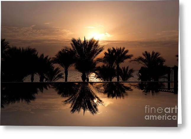 Infinity Greeting Cards - Sunrise over infinity pool Greeting Card by Jane Rix