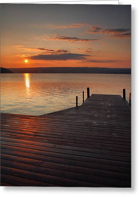 Finger Lakes Greeting Cards - Sunrise Over Keuka VII Greeting Card by Steven Ainsworth