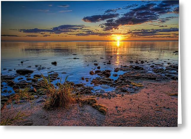 Footprint Greeting Cards - Sunrise over Lake Michigan Greeting Card by Scott Norris
