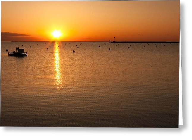 Paradise Pier Greeting Cards - Sunrise over Lake Michigan Greeting Card by Semmick Photo