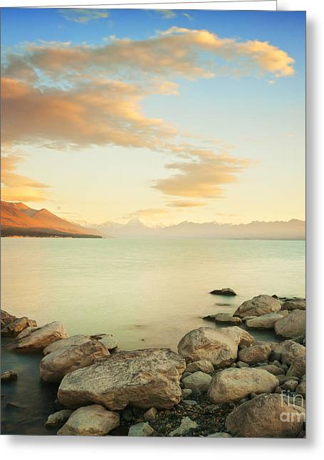 Sunrise. Water Greeting Cards - Sunrise Over Lake Pukaki New Zealand Greeting Card by Colin and Linda McKie