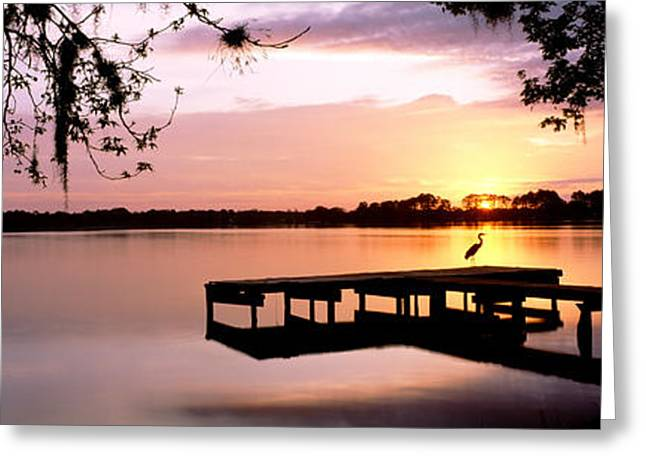 Perched Birds Greeting Cards - Sunrise Over Lake Whippoorwill Greeting Card by Panoramic Images