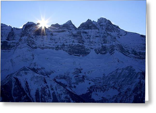 Midi Greeting Cards - Sunrise over Les Dents du Midi Greeting Card by Colleen Williams
