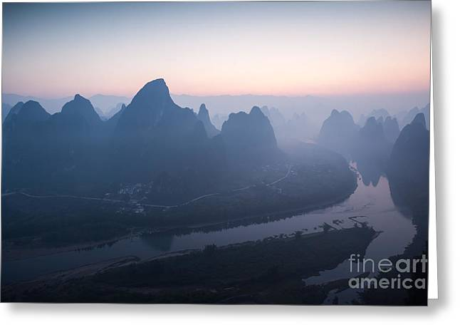 Lichen Photo Greeting Cards - Sunrise over Li river in China Greeting Card by Matteo Colombo