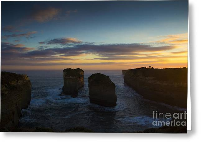 Geelong Greeting Cards - Sunrise over Loch Ard Gorge Greeting Card by Josephine Caruana