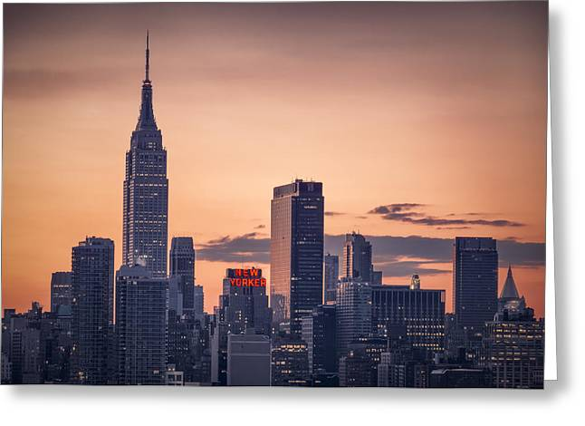 Times Square Digital Art Greeting Cards - Manhattan sunrise Greeting Card by Eduard Moldoveanu