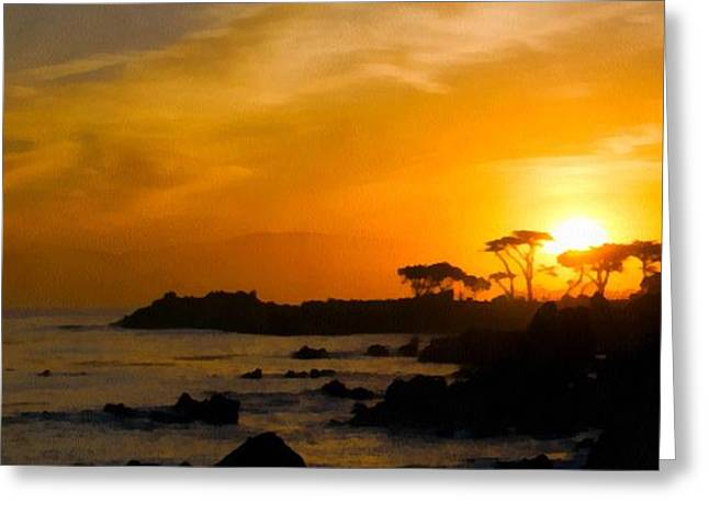 Sunrise Over California Greeting Cards - Sunrise Over Monterey California Wide Watercolor Greeting Card by Barbara Snyder