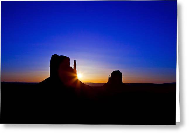 Monument Photographs Greeting Cards - Sunrise over Monument Valley Greeting Card by Susan  Schmitz