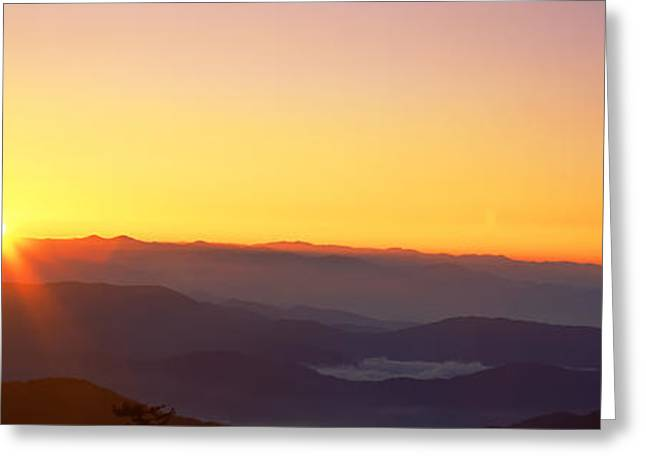 Clingmans Dome Greeting Cards - Sunrise Over Mountain Range, Clingmans Greeting Card by Panoramic Images