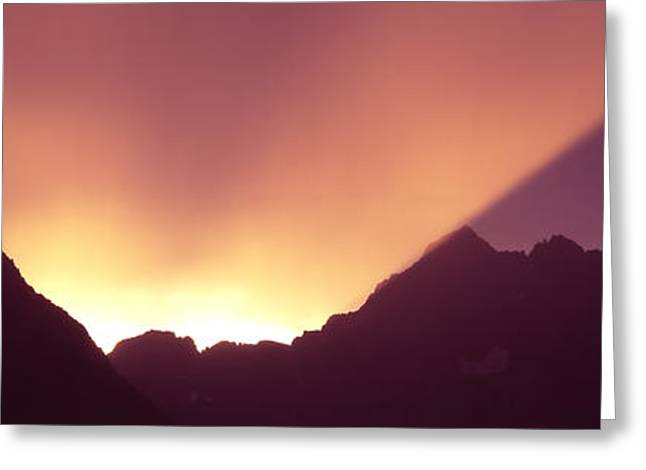 Panorama Mountain Images Greeting Cards - Sunrise Over Mountains, Grand Teton Greeting Card by Panoramic Images
