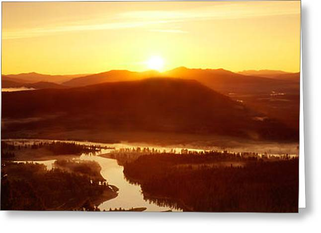 Panorama Mountain Images Greeting Cards - Sunrise Over Mountains, Snake River Greeting Card by Panoramic Images