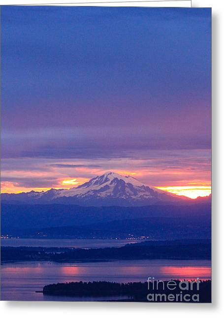 Mt Pastels Greeting Cards - Sunrise over Mt. Baker Greeting Card by Tracey Levine