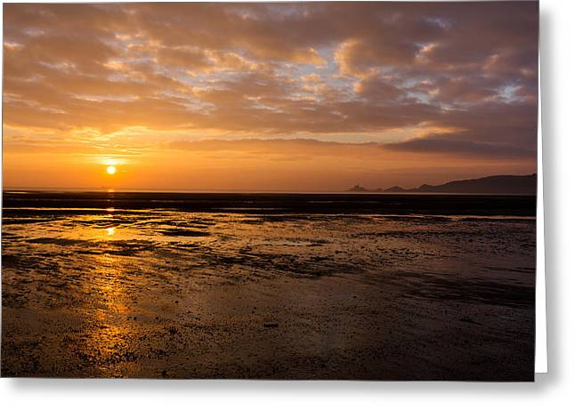 Sunrise Over Mumbles Mudflats Greeting Card by Paul Cowan