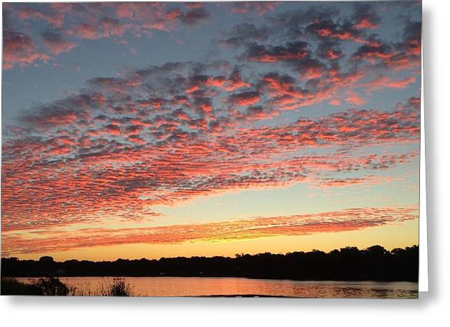 Reflections Of Sky In Water Greeting Cards - Sunrise Over Pensacola Florida Greeting Card by John Telfer