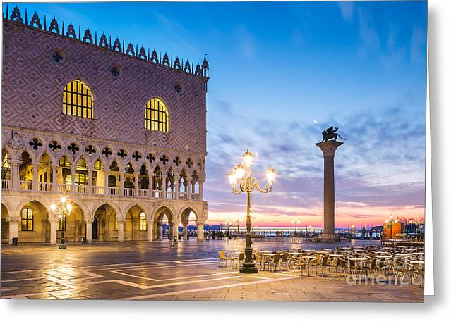 Sunrise Over Piazzetta San Marco - Venice Greeting Card by Matteo Colombo