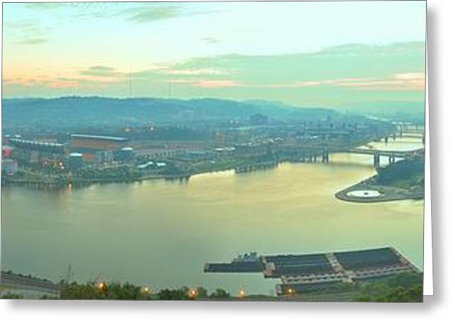 Sunrise Over Pittsburgh's 3 Rivers Greeting Card by Adam Jewell