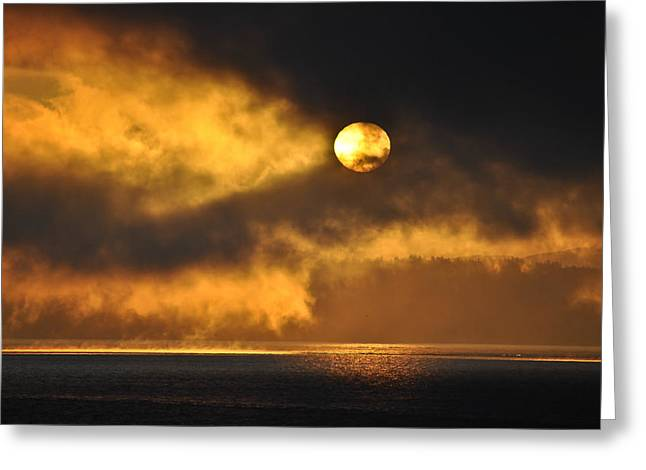 Nikon D90 Greeting Cards - Sunrise Over Puget Sound Greeting Card by Ronda Broatch