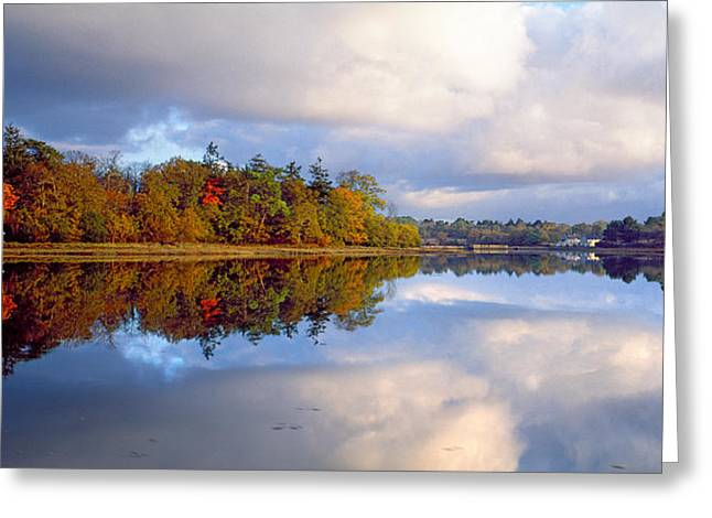 Reflections In River Greeting Cards - Sunrise Over River, Crach, Morbihan Greeting Card by Panoramic Images