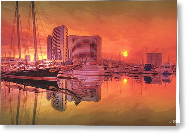 Steve Huang Greeting Cards - Sunrise Over San Diego Greeting Card by Steve Huang